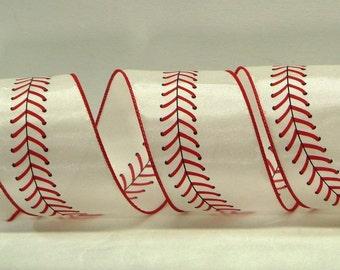 2.5 inch Wired Baseball Ribbon ~ Baseball Stitched Wired Ribbon ~ White Satin Ribbon with Red Baseball Stitches ~ Sports Ribbon ~ 3 Yards