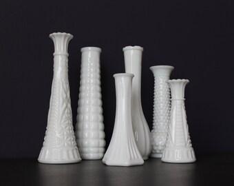 Set of 6 Vintage Milk Glass Vase Lot, Milk Glass Wedding, Shabby Chic Wedding, Vintage Wedding, Milk Glass Collection