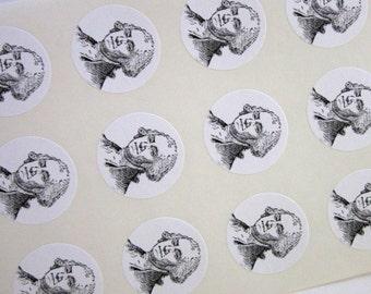 President George Washington Stickers One Inch Round Seals