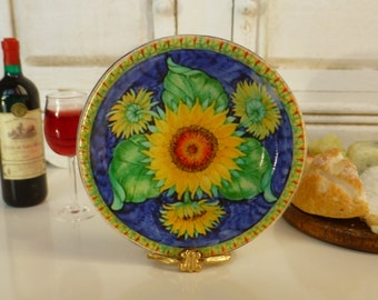 Tuscan Sunflowers Dollhouse Miniature Plate 1/12 Scale
