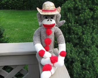 Sock Monkey Doll and Cowboy Hat Gift Set Handmade Brown BopBo the Monkey
