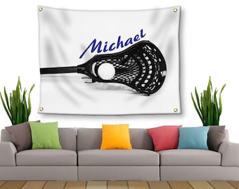Lacrosse Tapestry-Boys Lacrosse-Tapestry with Grommets-Custom Wall Decor-Lacrosse Wall Decor-Custom Sports Decor-Outdoor Tapestry