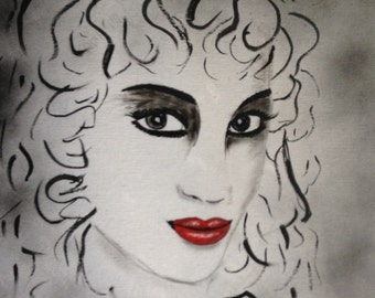 Black and White Art/Painting of Woman with Red Lips