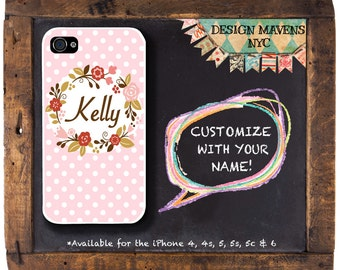 Polka Dot iPhone Case, Floral Wreath iPhone, Personalized iPhone Case, iPhone 5, 5s, 5c, 4, 4s, iPhone 6, 6s, 6 Plus, SE, iPhone 7, 7 Plus