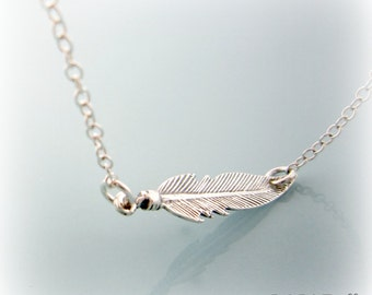 Feather Necklace. Sterling Silver Feather Necklace. Feather Pendant