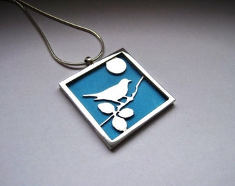 Silver Birdie Pendant, Exchangeable Background Silver Birdie Necklace, Bird Necklace, Silver Jewelry Necklace for Her