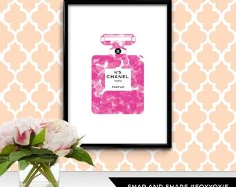 French Fashion House Perfume Bottle Illustration Polka Dot Print Poster   Printable Digital File