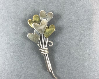 Vintage Far Fetched Heart Bouquet Sterling Silver Pin Brooch