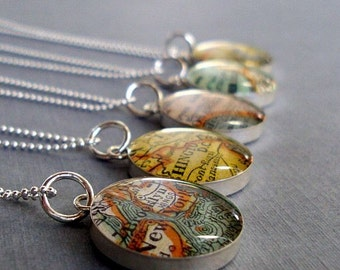 Atlas Necklace Vintage  Maps Sterling Silver  Choose the City or Hometown Personalized Custom   Jewelry for the Traveler Free US Shipping