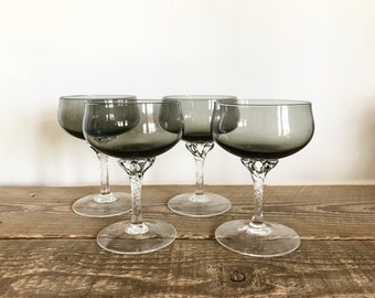 Set of 4 Smoky Gray Glass Champagne Coupes