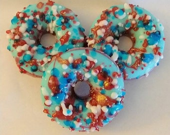 Patriotic Soap, Donut Soap, Red,White,and Blue, Glycerin Soap, Guest Soap, Set of 2, Artisan Soap