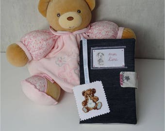 Adjustable pocketbook recycled Blue Jean Teddy bear, double cotton ecru bears patterns