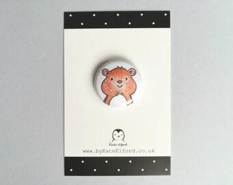Mini hamster badge, little ginger hamster pin button