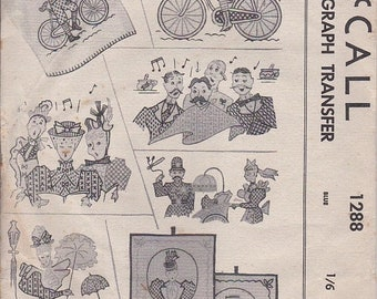 ON SALE 1940's Sewing Pattern - McCall's No 1288 Kaumagraph Transfers -  Factory Folded.
