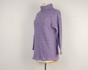 Purple Turtleneck Long Sweater Large Ladies Pullover Jumper 60s to 70s Vintage