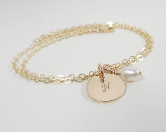 Gold Filled Initial Bracelet with Swarovski Birthstone - Hand Stamped Mommy Jewelry - Personalized Hand Stamped Jewelry