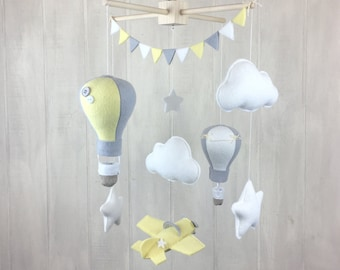 Baby mobile - hot air balloon baby mobile - airplane mobile - crib mobile - nursery mobile - hot air balloon nursery - gender neutral mobile
