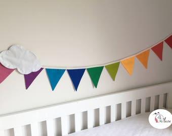 Garland banner Rainbow sky multicolor, cloud, birthday, child's room