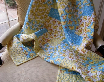 SALE -- A Sunny Day for Ducks Yellow Baby Quilt