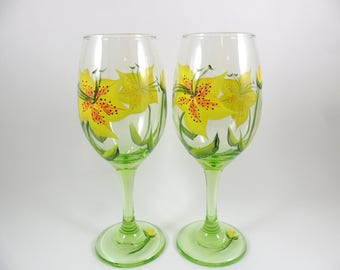 Wine Glasses Hand Painted Yellow Tiger Lily Flowers Lime Green Set of 2