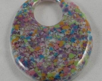 Confetti Pastel White Drop Focal Pate de Verre Glass Handmade SRA OOAK Bead NLC Beads leteam