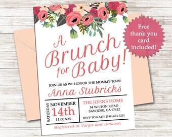 Brunch for Baby Shower Invitation Invite 5x7 Digital Personalized Sprinkle Girl