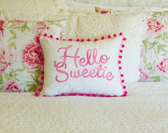 Hello Sweetie Appliqued Pink Pompom Glitter Cushion
