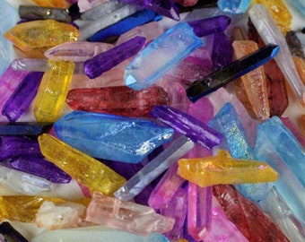 """1/2""""-1 1/2"""" Mixed Colors Beads quartz crystal points blue dichroic titanium beads electroplated gemstone"""