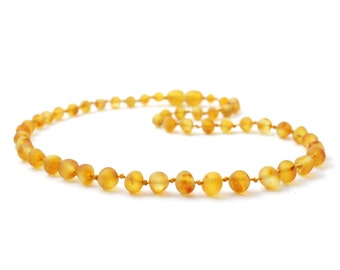 """Raw Baltic Amber Teething Necklace, Honey Color, Available in 11-14.2"""" (28-36 cm) Length, Made from Unpolished Baroque Baltic Amber Beads"""