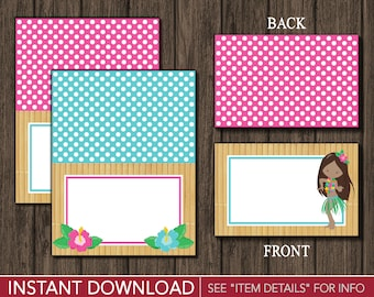 Luau Tent Cards - Hawaiian Buffet Cards - Food Labels - Place Cards - Printable Digital File - INSTANT DOWNLOAD