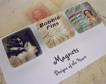 Square Glass Magnet Set - Vintage Hairdressing Collection