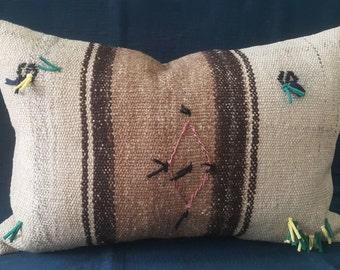 "Kilim Pillow, 16""×24"" inches, Decorative Kilim Pillow, Green Pillow, Cushion Cover, Throw Pillow, Decorative Pillow, Naturel Pillow, Aztec"