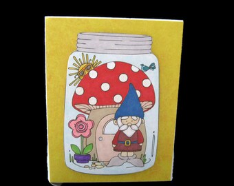 Gnome Blank Greeting Card, Greeting Card Ready to Ship