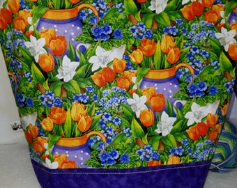 Medium or Large Project WIP Tote Bag, Tulips & Water Cans, Springtime, Daffodils, Garden Time Inspired, Zipper or Drawstring