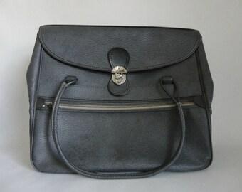 VINTAGE graphite gray TOTE style luggage BAG