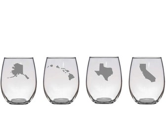 Set of 2 or 4 Home State Wine Glasses,Frosted Etch U.S. State Glassware,United States Barware,Etched Stemless Wine Glass,Custom Etched Glass