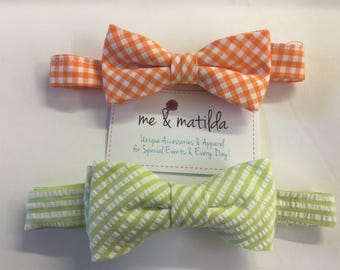 Little Boy's Bow Tie Set Orange Gingham and Light Green Seersucker Ready to Ship