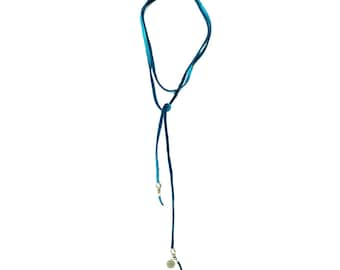 Francis lariat necklace or bracelet - a versatile leather cord with African silver beads and sterling Sailor's Omen charm