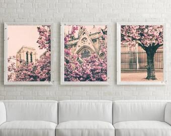 Paris photography, framed wall art,  extra large wall art, Paris wall art, gallery wall set, Cherry blossom art, wall art canvas Paris decor