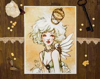 Steampunk Birdcage - Art Print 6 x 8