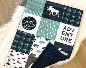 Woodland Baby Lovey Blanket~Double Minky Adventure Lovey Blanket ~Gray Navy Teal~Faux Fur Blanket~Moose Bear Arrow Mountain~Nursery Bedding