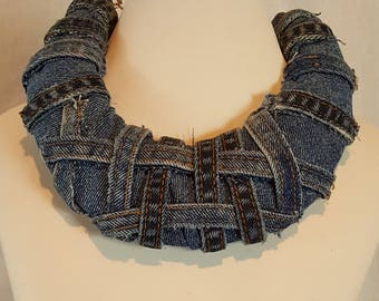 Denim necklace made from repurposed denim. Upcycled denim