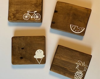Summer, Pineapple, Watermelon, Ice Cream, bike, Bicycle Coasters