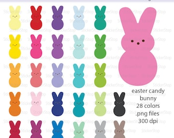 Easter Candy Bunny Images 28 PNG Digital Clipart - Instant download - marshmallow, sugar, basket