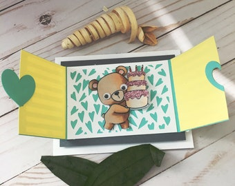 Interactive handmade Birthday Card - Happy Birthday Card - handmade Greeting Card - Interactive Window Card - Bear with Cake