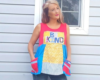 Boho Hippie Top Refashioned Clothing Upcycled Top Red Blue Tunic Womens Be Kind Shirt Summer Clothing Tank Large XL Artsy Chic Cottage POSEY
