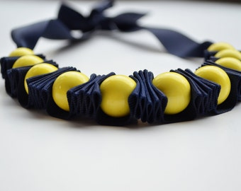 Ruffle Necklace. Colorful Necklace. Twillypop Girl Stella Ribbon Necklace. Navy and Yellow. Christmas Gift Under 30. Gift for Her.