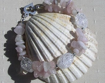 "Pink Morganite & Crackled Clear Quartz Crystal Gemstone Bracelet ""Rose Dew"" Pink Bracelet, Chakra Bracelet, Quartz Bracelet"