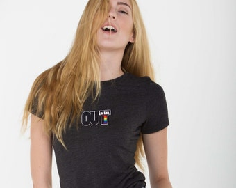 OUT is in USA Gray Crew Neck T-Shirt,triblend soft gray t-shirt,pride wear, womens crew neck pride shirt,lesbian shirt, ainbow pride t-shirt