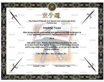 Uniform Gi Martial Arts/Karate Rank Belt Certificate Template